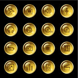 Gold drop media icons Stock Images