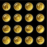 Gold drop medicine icons Stock Images