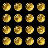 Gold drop mobile phone icons Royalty Free Stock Photo