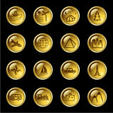 Gold drop travel icons Stock Photo