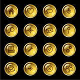 Gold drop web icons Stock Photography
