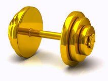 Gold dumbbell. 3d illustration of gold dumbbell Royalty Free Stock Image