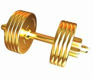 Gold dumbbells Stock Photography
