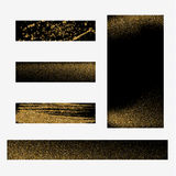 Gold dust on black background. Gold glitter background. Gold shiny background for banners. Royalty Free Stock Images