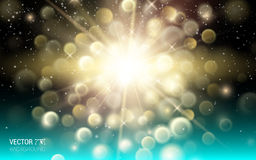 Gold dust firework explosion. Abstract Holiday Light Rays Stock Photo