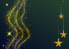 Gold Dust wave and yellow stars. New Year background. Illustration in vector format Stock Images