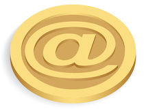 Gold e-mail sign coin. Isolated on white vector illustration