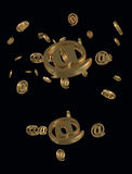 Gold E-mail Symbol Royalty Free Stock Photography