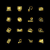 Gold e-shop icons Stock Photo