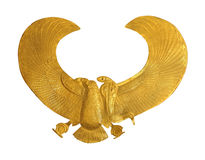 Gold eagle. Ancient traditional gold eagle Egyptian symbol isolated with clipping path included stock image