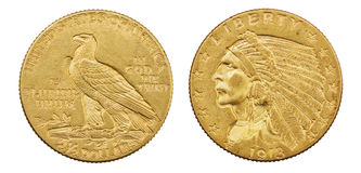 Gold Eagle Coin. Gold eagle two and a half dollar 1913 US coin with indian head isolated on white background royalty free stock image