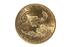 Gold Eagle Coin. This is a 1999 1oz Gold Eagle coin. It contains 1 oz of gold stock image