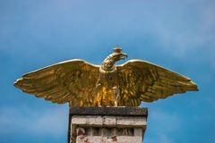 Gold eagle sculpture Stock Image