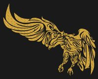 Gold eagle tattoo illustration Stock Images