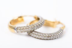 Gold Earrings With Diamonds Stock Image
