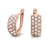 Gold earrings. Jewelry. Gold earrings with diamonds Stock Photography