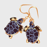 Gold earrings with turtle, vintage accessory Stock Images