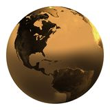 Gold earth 1. Gold earth in white background Stock Photo