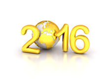 Gold Earth 2016. New year future globe Royalty Free Stock Photography