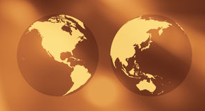 Gold earth world concept background. World globe on abstract background Stock Photo