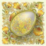 Gold easter egg on floral ornament Stock Image