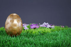 Gold easter egg on grass Royalty Free Stock Photos