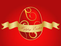 Gold Easter egg with ribbon and text Royalty Free Stock Photos