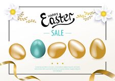 Gold Easter eggs and white flowers on the white background. Easter invitation. Gold Easter eggs on the white background. Set of Easter eggs Royalty Free Stock Photography