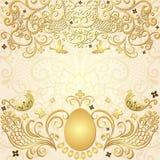 Gold easter vintage frame. Gold easter frame with big gold egg, vintage pattern, birds and butterflies (vector EPS 10 Stock Images