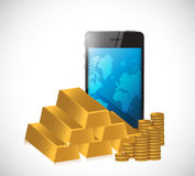 Gold economy concept manage by phone. Royalty Free Stock Image