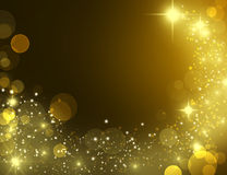 Gold effect pixie dust on black. Incredible festive glittering wallpaper, VIP party 2017 invitation. Beautiful gold glitter stars and star dust. Bokeh golden Royalty Free Stock Images