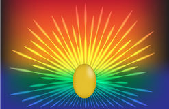 Gold egg abstract colorful laser background Royalty Free Stock Photo