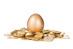 Gold egg in golden coins. On white Royalty Free Stock Images