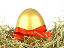 Gold egg with ribbon. Close up of a gold egg with red ribbon on a nest Royalty Free Stock Photography