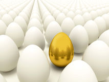 Gold egg in rows of normal eggs - Easter time Stock Photography