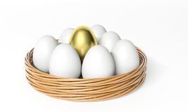Gold egg among white eggs Stock Images