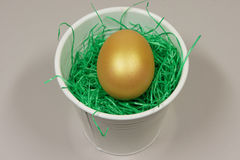 A gold egg in a white sheet. Over the pot on green grass royalty free stock images