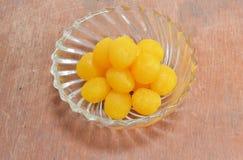 Gold egg yolk drop Thai sweet in bowl Royalty Free Stock Images