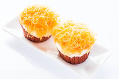Gold egg yolk thread cakes isolated on white background Royalty Free Stock Image