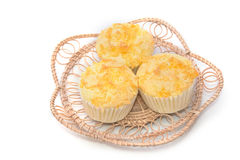 Gold egg yolk thread topped on cup cake Stock Photo