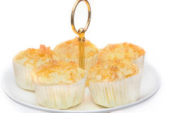 Gold egg yolk thread topped on cup cake Stock Image