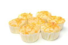 Gold egg yolk thread topped on cup cake Royalty Free Stock Image