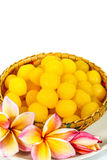 Gold egg yolks drops Royalty Free Stock Images