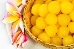 Gold egg yolks drops Stock Photos