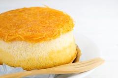 Gold egg yolks thread cake  on white wood background Stock Photos