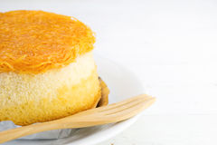 Gold egg yolks thread cake  on white wood background Stock Photo