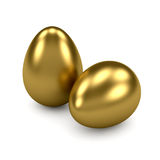 Gold Eggs. 3d render of gold eggs on white background Stock Photography