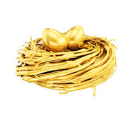 Gold eggs in the gold nest Stock Photography