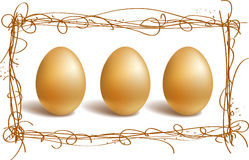 Gold eggs in the nest frame Royalty Free Stock Images