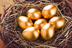 Gold eggs Royalty Free Stock Photography